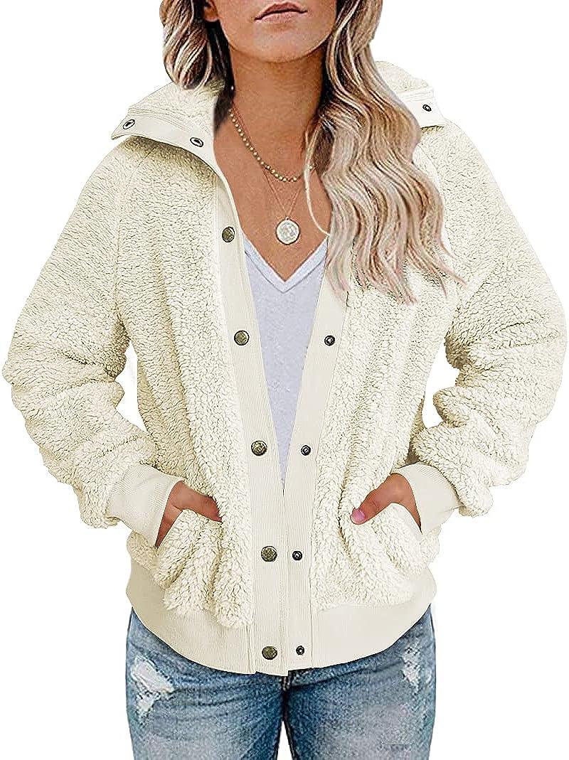 VTSGN Women's Winter Sherpa Fleece Jacket Button Fuzzy Faux Fur