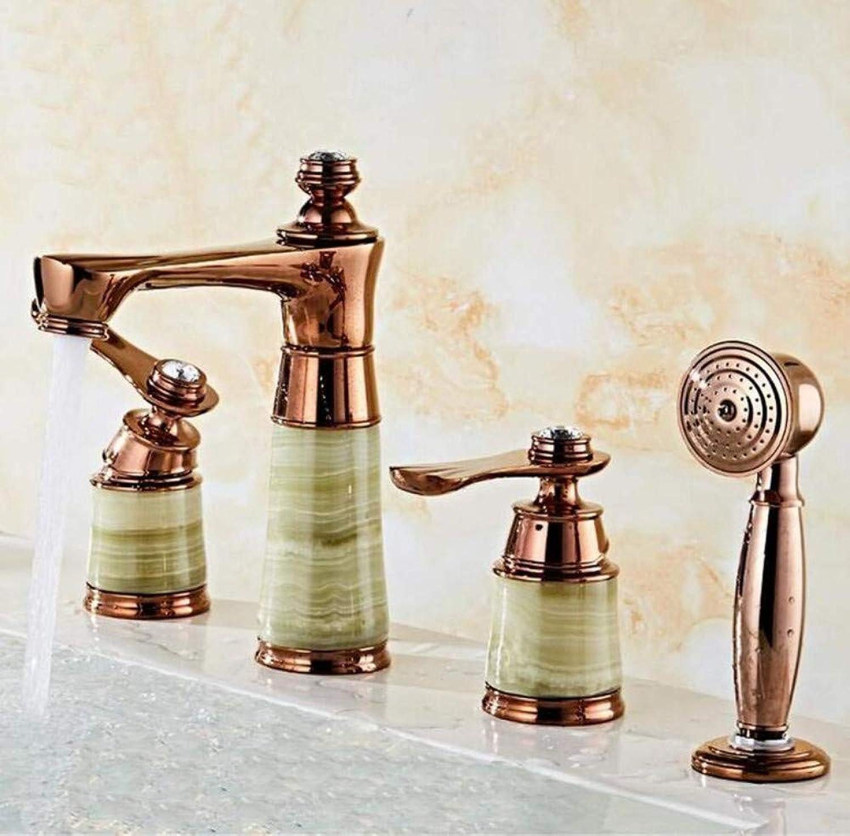 Messing Chrome warmes und kaltes Wasser Wasserfall Badewanne Wasserhahn Bad Badewanne Mischbatterien Mit Hand 4 Stück Set Bathub Becken Wasserhahn