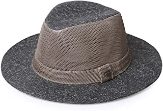 ZRL77y Sun Hat Summer Men's Outdoor Travel Sunscreen Jazz Hat Wide Eaves Straw Hat Beach Cap Breathable Mesh with Chin Band (Color : Gray)