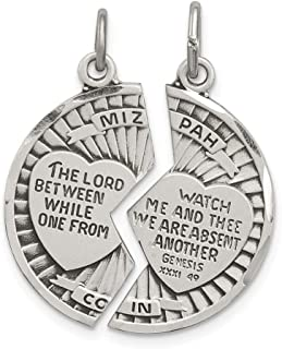 Beautiful Sterling silver 925 sterling Sterling Silver Satin Antiqued 2-Piece Mizpah Pendant