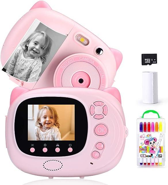 Ymiko Cámara Digital para Niños 15 MP 1080P HD Cámara Instantánea Pantalla de 2.4 Pulgadas Autofocus WiFi Sync a Prueba de Golpes Incluye 3 Rollos de Papel Fotográfico Rosa Espanol Carga USB