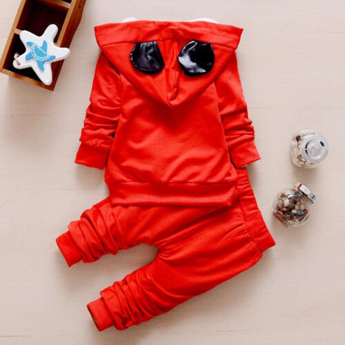 TOHD 3pcs Baby Toddler Clothes Boys Coat+T Shirt Pants Tracksuit Outfits Set Cartoon