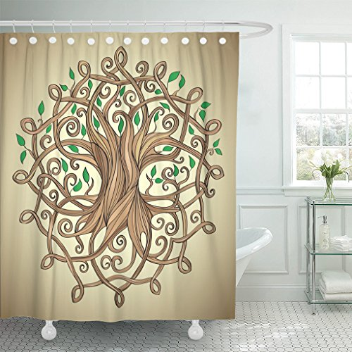 TOMPOP Shower Curtain Knot Amazing Tree of Life in The Celtic Pattern Waterproof Polyester Fabric 72 x 72 Inches Set with Hooks