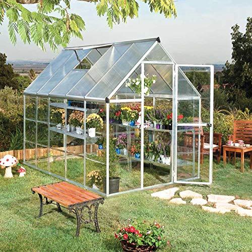 Palram Aluminium Gewächshaus Gartenhaus Hybrid 6x10 Silber // 310x185x209 cm (LxBxH); Treibhaus & Tomatenhaus zur Aufzucht