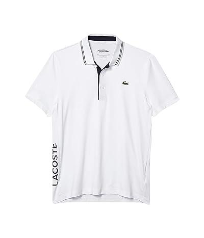 Lacoste Short Sleeve Jersey S-Dry Side Logo Polo (White/Navy Blue/Navy Blue) Men