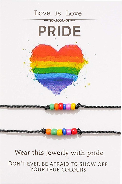 Nanafast 2Pcs Couple Sead Beads Rainbow LGBT Pride Bracelets for