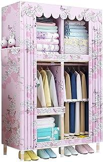 Tissu Placard Armoire, étagère Portable Placard en Bois Massif Durable Organisateur de Stockage de Grande capacité vêtemen...