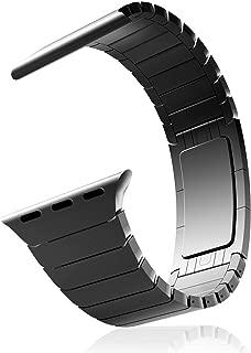 MaKer ステンレススチール リンクブレスレットバンド 見えないクラスプ付き に対応しますApple Watch Series 5/4/3/2/1 (40mm/38mm,スペースグレー)