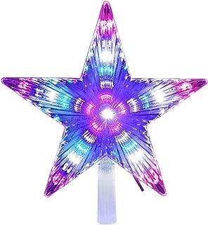 LAWOHO Christmas Tree Topper Star 8.7 Inch 31 LED Treetop Christmas Decoration Light Ornaments Bethlehem Star Multi-Colour Flashing
