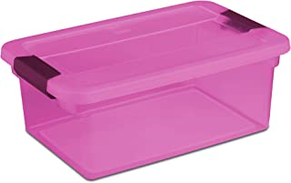 Sterilite ClearView Latch 15 Quart Plastic Storage Container, Purple (24 Pack)