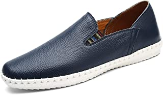 ZiWen Lu Loafer Shoes for Men Flat Heel Moccasins Sewing Detail Sides Elastic Anti Slip Soles Perforated Options Round Toe Slip-ons Solid Color (Color : Blue, Size : 8.5 UK)