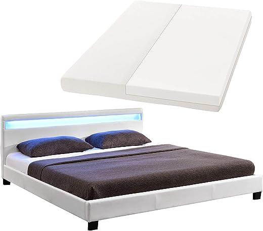 ArtLife Polsterbett Paris 180 x 200 cm mit Matratze, LED Beleuchtung und Lattenrost   Bettgestell aus Kunstleder & Holz   Bett modern & stabil weiß