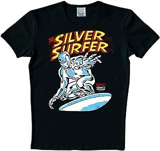 LOGOSH! Los héroes de Marvel Super Hero RT estilo retro para hombre T-Shirt Silver Surfer - negro talla S (L8)