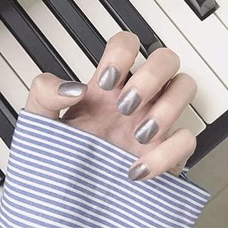 Sethexy Glitter Cat Eye False Nails Art Tips Shine Short Full Cover Art Design 24Pcs UV Fake Nails for Women and Girls (Gray)
