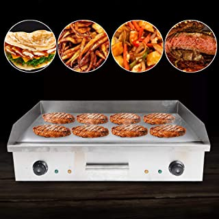 Commercial Grill Countertop Griddle, Electric Nonstick Home Flat Stainless Steel Restaurant Grill Cooktop BBQ Hot Plate(11...