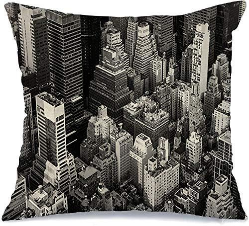 Funda de cojín Anticuario White Street Ciudad de Nueva York Manhattan Vista cenital Ny Finanzas White Street Brooklyn Midtown de Nueva York Funda de Cojine 45 X 45CM