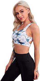 MakeMeChic Women's Tie Dye Print Sport Bra Cut Out Back Workout Tank Top