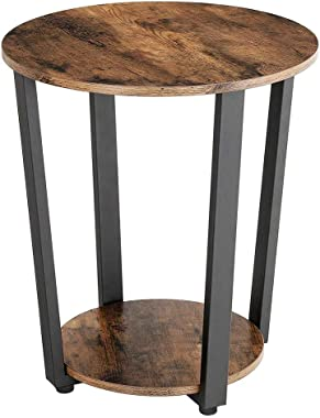 2 Tier Side Table, Fthome US Fast Shipment Round End Table Night Stand Bedside Nightstand Coffee Table for Living Room Bedroo