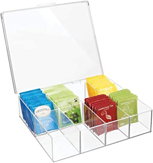 mDesign Tea Storage Organizer Box - 8 Divided Sections, Easy-View Hinged Lid - Use in Kitchen, Pantry, and Cabinets; Holder for Tea Bags, Packets, Small Items and Accessories, BPA free - Clear