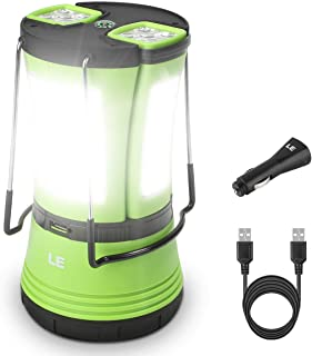 LE 600lm Rechargeable LED Camping Lantern Detachable Portable Flashlight Torch Water Resistant Tent Light with USB Cable C...