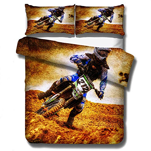 Zyttao Boys and teenagers' favorite off-road motorcycle 3D print pattern quilt cover pillowcase, suitable for single double king-size bed beddingset-5_228×228cm(3pcs)