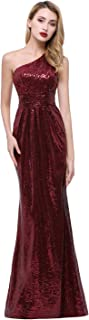 Women's Sequined Long Bridesmaid Dresses One Shoulder Pleat Rose Gold Wedding Party Gown