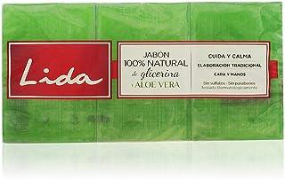 Lida Jabón 100% Natural Glicerina y Aloe Vera - 3 Unidades