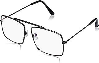 Arzonai Raees Rectangle Shape Black-Transparent UV Protection Sunglasses | Frame For Men & Women [MA-9999-S1 ]