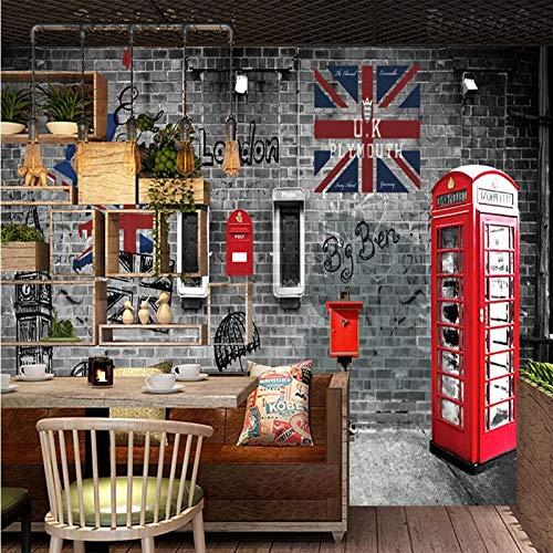 XZCWWH Retro Retro Di Londra E Dell'Europeo Cabina Telefonica Del Telefono Del Caffè Ristorante Parete Carta Da Parati Murale Manifesto Adesivo Da Parete Porta Adesivo,400Cm(W)×280Cm(H)