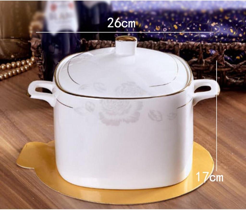 Liuyu Kitchen Home Bol à Soupe à la Maison Plat à Plat avec Couvercle Four à Micro-Ondes Cuvette à céramique Cuvette à Quartz Diamètre 26cm (Couleur : A) B
