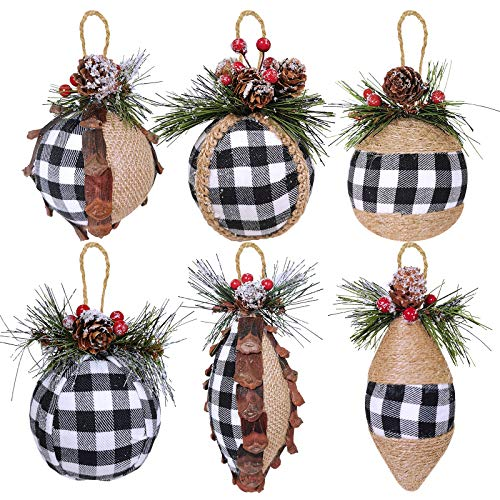 6 pcs Christmas Ball Ornaments Black and White Buffalo Check and Burlap Baubles Ornaments Hanging Tree Ornaments for Rustic Vintage Christmas Winter Decoration