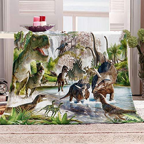 QHDIK Couverture Polaire Enfant Fille Garcons Dinosaure Couverture Bébé Plaid Sofa et Lit en Microfibre Flanelle Cadeau pour la Chambre, en Voiture, en Voyage 130 (L) x 150 (H) cm