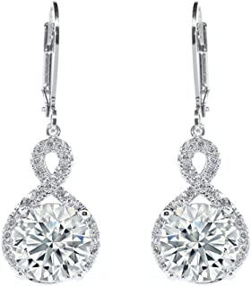 Alessandra 18k White Gold Plated Infinity Halo Drop Earrings, Silver CZ Crystal Dangle Earrings Round Diamond Cubic Zirconia Earring Set Special-Occasion-Jewelry