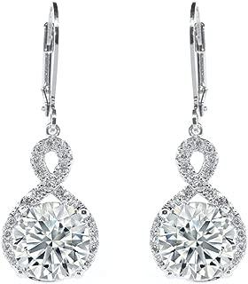 ROBERT MATTHEW Audrey 18k White Gold Infinity Drop Dangle Earrings, Twilight Sparkling CZ Halo Diamond Earring Box Set for Women, Special Christmas Jewelry - MSRP $150