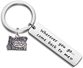 DYbaby Wherever You Go Come Back to Me US Map Pendant Keychain Long Distance Gift between Lovers