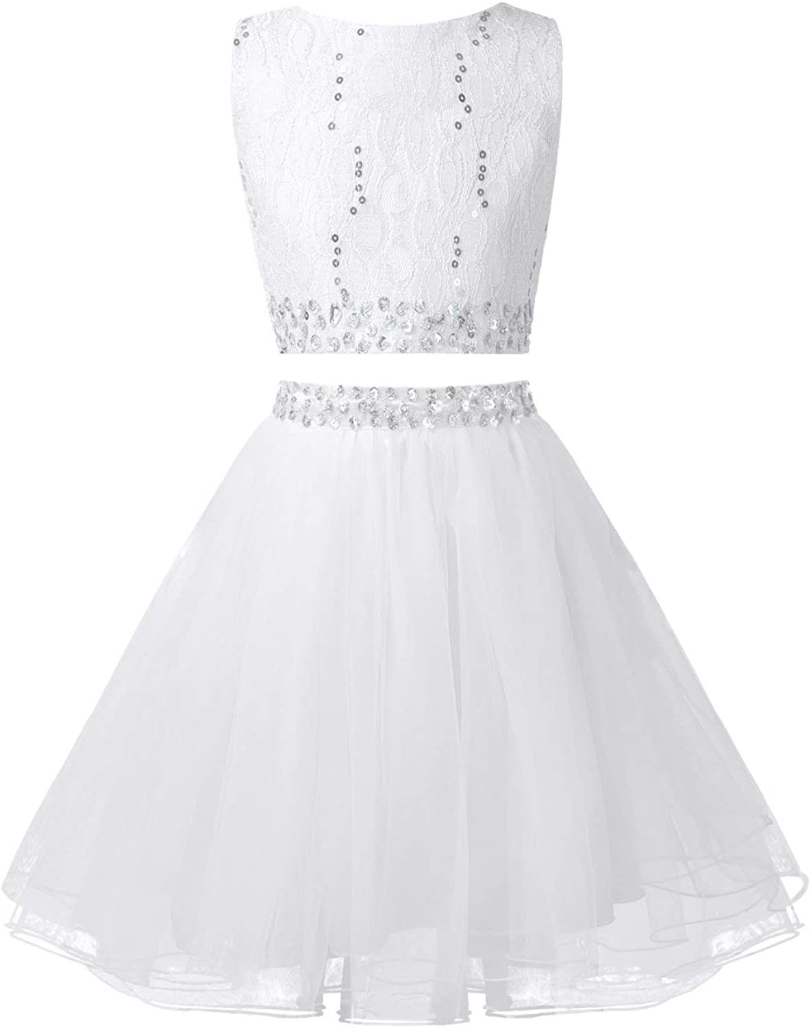 Jelory Junior Girls' Kids' 2 Piece Beaded Lace Wedding Party Flower Bridesmaid Prom Ball Gown Dress