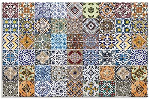 Artland Küchenrückwand Glas mit Motiv Spritzschutz 100x65 cm Fliesenoptik Mosaik Orient Muster Fliesen Orientalisch Landhaus Bunt T9OM
