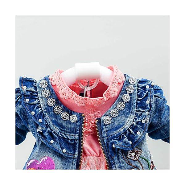 Spring Autumn Baby Girls Clothing Set 3pcs Long Sleeve T-Shirt Denim Jacket and Jeans