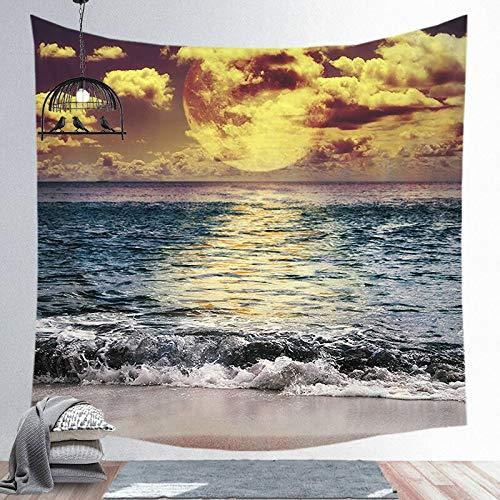 KHKJ Tela de Tapiz Hippie de Pared con Estampado de Bosque, decoración del hogar, Alfombra de Pared, Alfombra, sofá Colgante, Manta A9 150x130cm