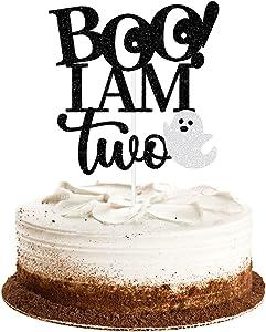 Boo I'm Two Cake Topper Black Glitter- Halloween 2nd Birthday Cake Topper, Halloween Birthday Cake Decorations With Ghost, Halloween 2nd Birthday Party Decorations, Here for the Boos Decorations