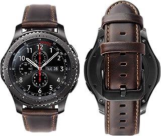 Genuine Handmade Leather Band with Black Buckle for Samsung Galaxy Watch Smart Watch Elite Strap - Coffee Dark Brown