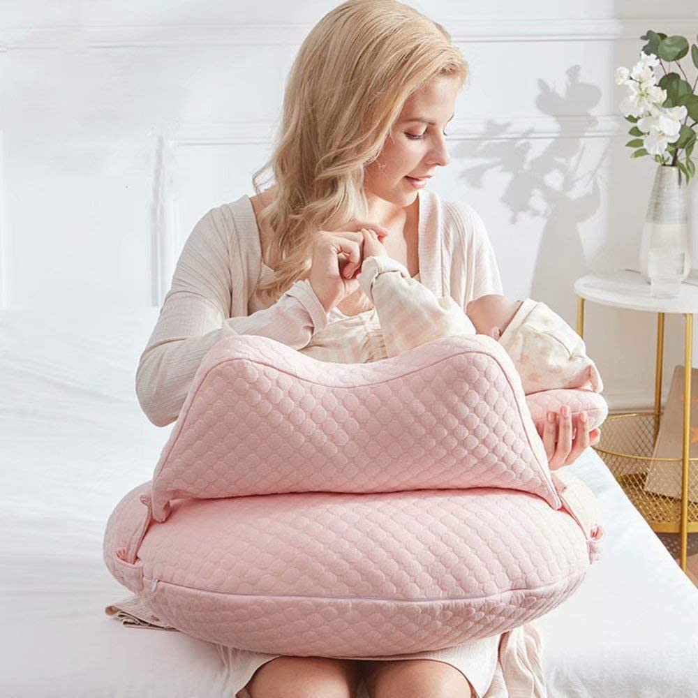 WYXunPlanet Breastfeeding Pillow for Babies,Nursing Pillows,Nursing Pillow Breastfeeding,Nursing Pillow, Baby Nursing Pillow and backrests,Can Change The Baby's Feeding Position(Pink)
