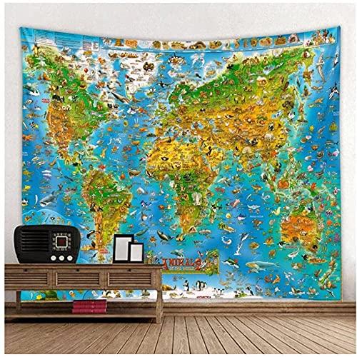 Tapiz de Estilo nórdico, Tapiz de Mapa del Mundo Animal, Tapiz de poliéster para Colgar en la Pared, Toalla de Playa, Manta Fina de poliéster, mantón de Yoga, 59.05'x39.37 Pulgadas