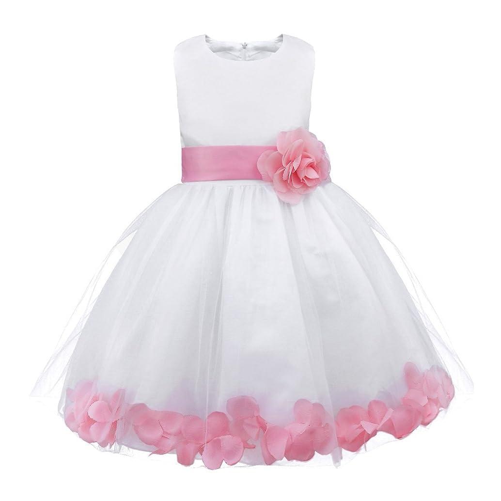 iiniim Girls Petals Tulle Princess Wedding Pageant Party Flower Girl Dress Yellow Petals 4