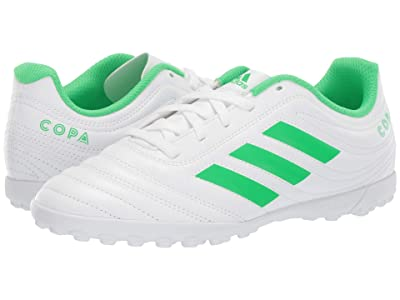 adidas Kids Copa 19.4 TF Soccer (Little Kid/Big Kid) (White/Solar Lime) Kids Shoes