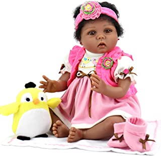 Aori Lifelike Reborn Baby Dolls 22 Inch African American Realistic Girl Doll with Bird Gift Set
