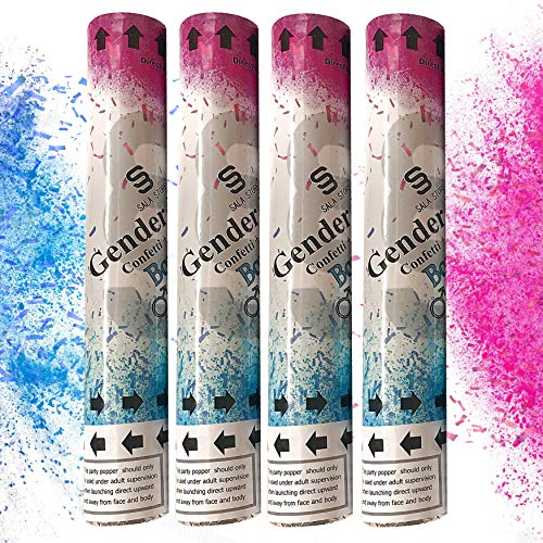 """SALA Store Gender Reveal Confetti + Powder Cannon, 12"""" Biodegradable Confetti Poppers with Eco Friendly Powder for Perfect Baby Gender Reveal Party Celebration, Pack of 4 (2 Blue & 2 Pink)"""