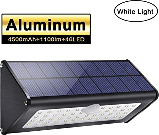 2019 Newest! Licwshi 1100lm Solar Outdoor Lights 4500mAh Black Aluminum Alloy 120° Infrared Motion Sensor, Waterproof IP65 Security Lights, 4 Mode, for Garage, Stairway, Gate, Fence - White Light