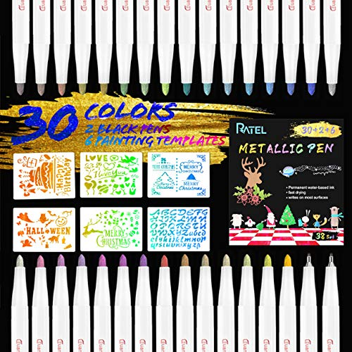Rotuladores Metálicos, RATEL 30 colores brillantes Marcador Metálico con 2 Bolígrafo Negro, 6 Plantillas de Papel de Pintura para Manualidades de Bricolaje,Pintura Rupestre,Album de Bricolaje,Cerámica