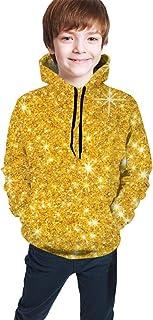 Golden Stars Gold Sparkle3 Kids/Teen Boys Girls Hoodie,3D Print Pullover Sweatshirts